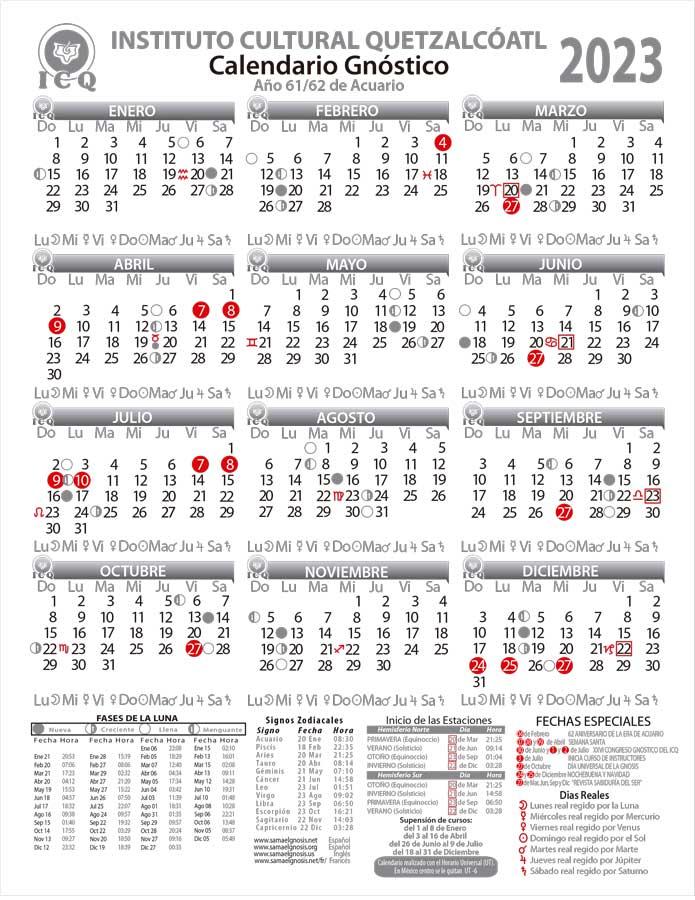 Calendario Junio 2019 Para Imprimir Pdf.Calendario Gnostico Del Icq