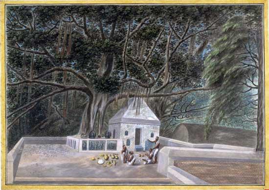 Templo junto al árbol del Bodhi, dibujo de 1810.