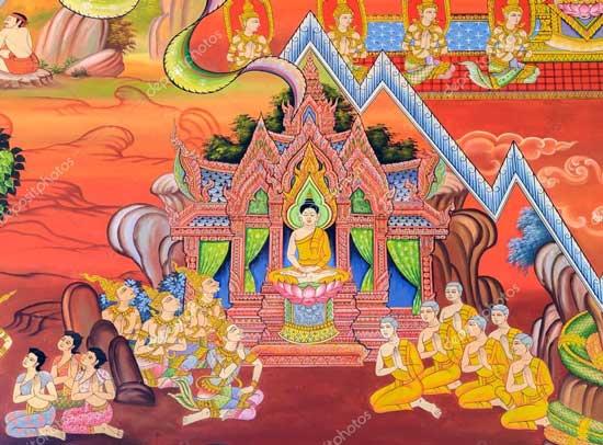 Mural de templo de budista, templo de Wat Chetawan en Chiang Mai, Tailandia