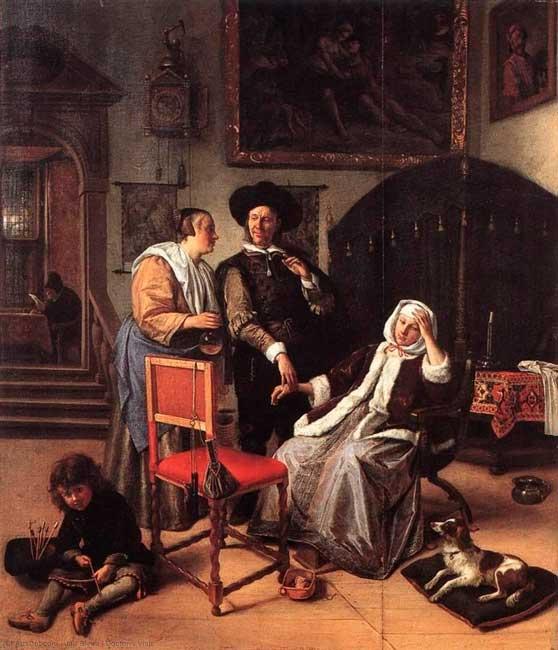 Jan Havicksz Steen año:(1658-1662). Nombre: La Visita del Médico.